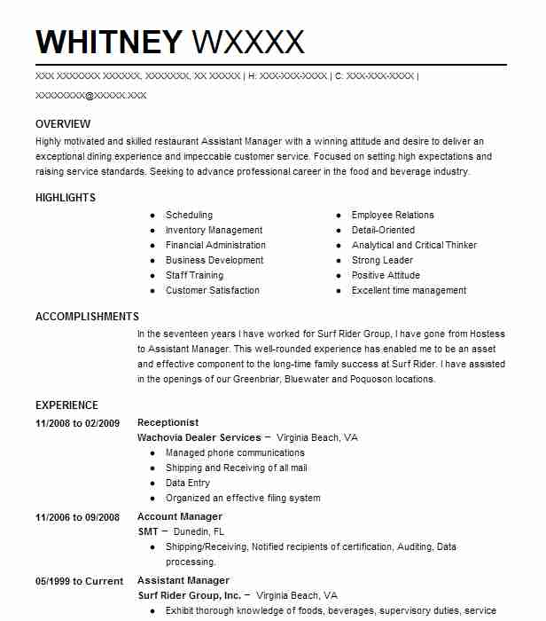 Food and beverage resume examples
