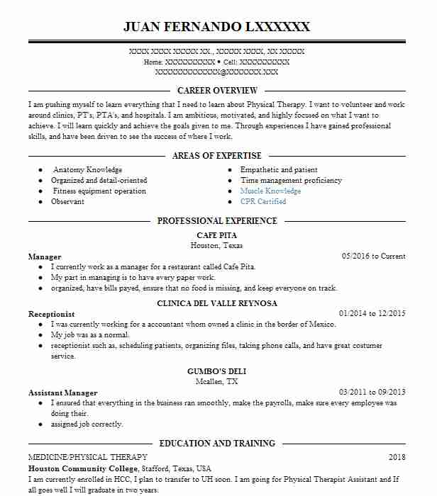 Massage therapy resume examples