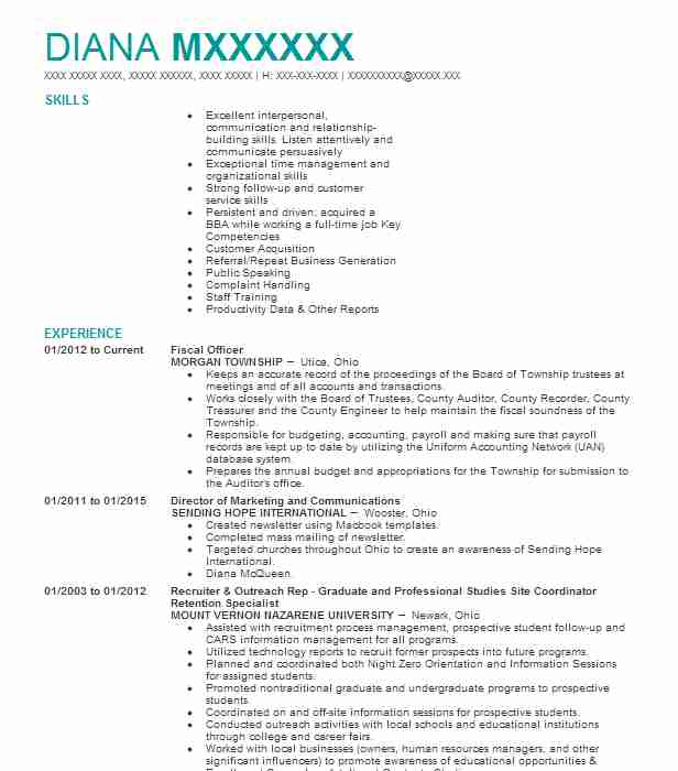 Outreach officer sample resume