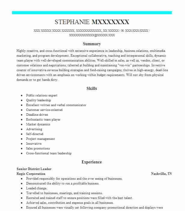 Event manager resume examples