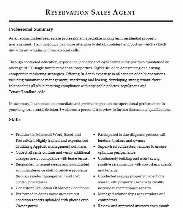 reservation sales agent resume sample