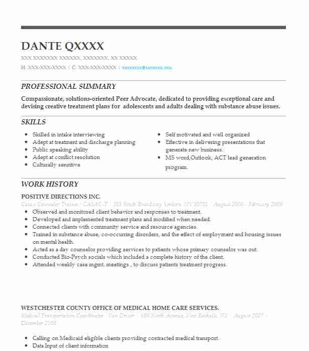 counselor trainee resume example pathways community health