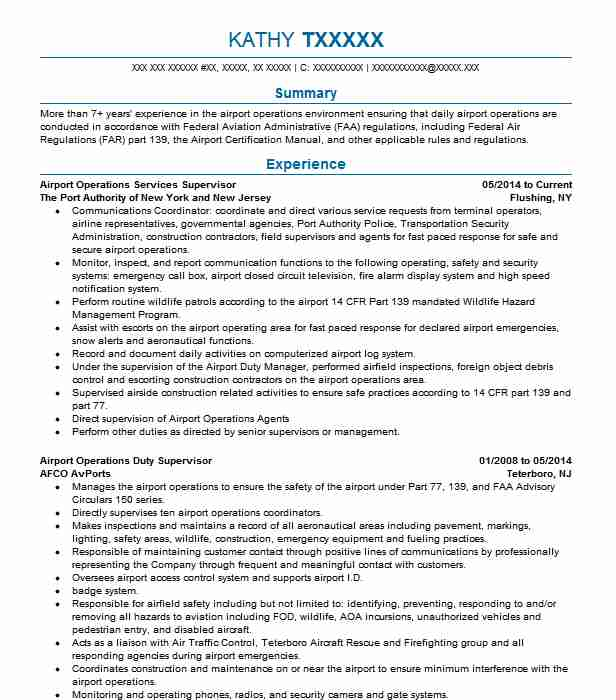 airport operations supervisor resume example united airlines