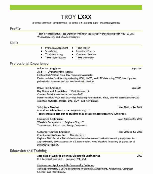 drive test engineer resume sample