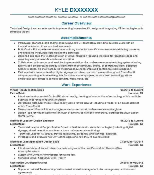 virtual reality developer resume example ford motor