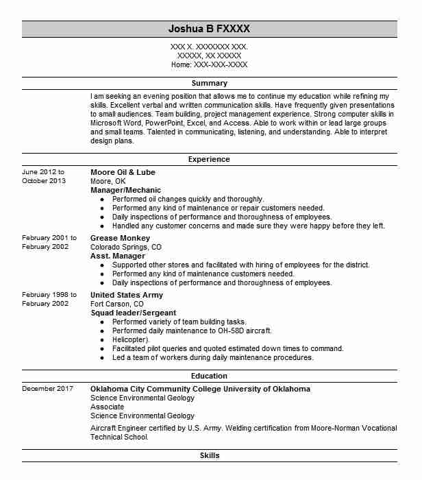 35 Environment And Conservation Resume Examples in Oklahoma | LiveCareer