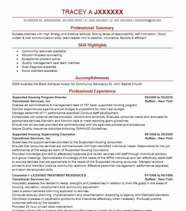 housing program manager resume example united community