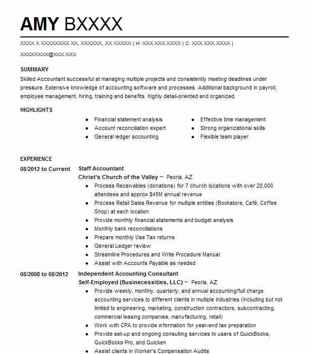Best Staff Accountant Resume Example