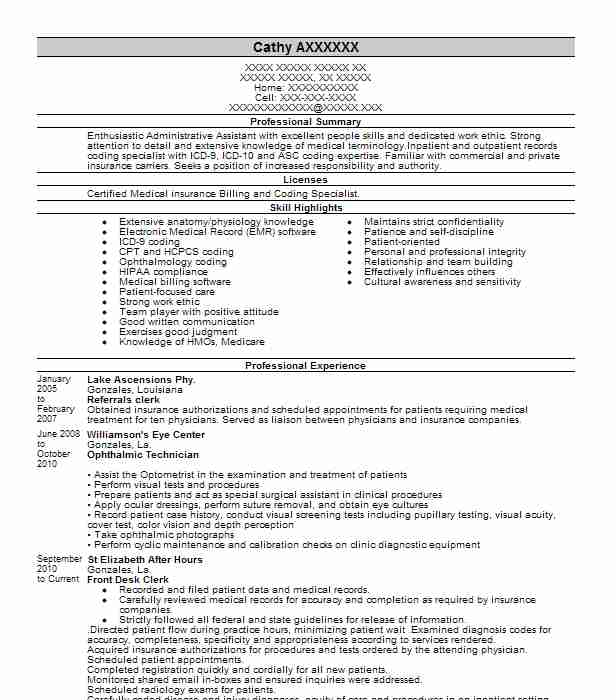 best legal billing clerk resume example