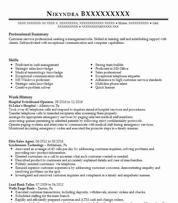 Hospital Switchboard Operator Resume Sample