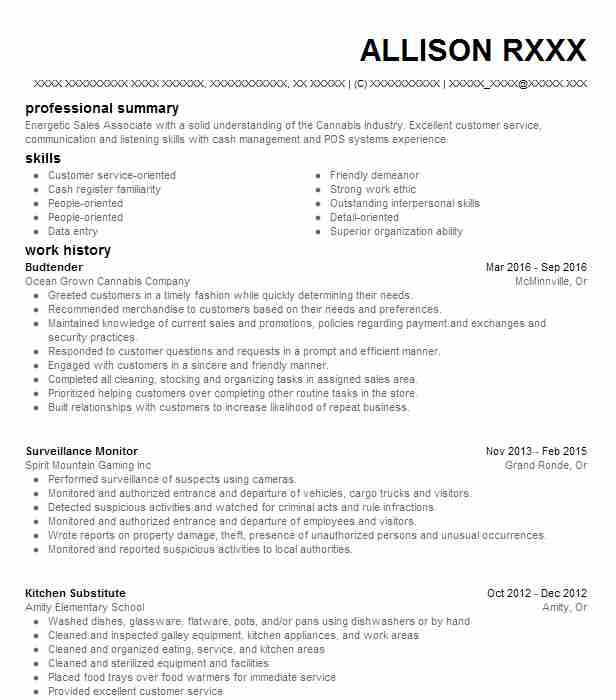 Budtender Resume Example Natural Remedies Denver Colorado