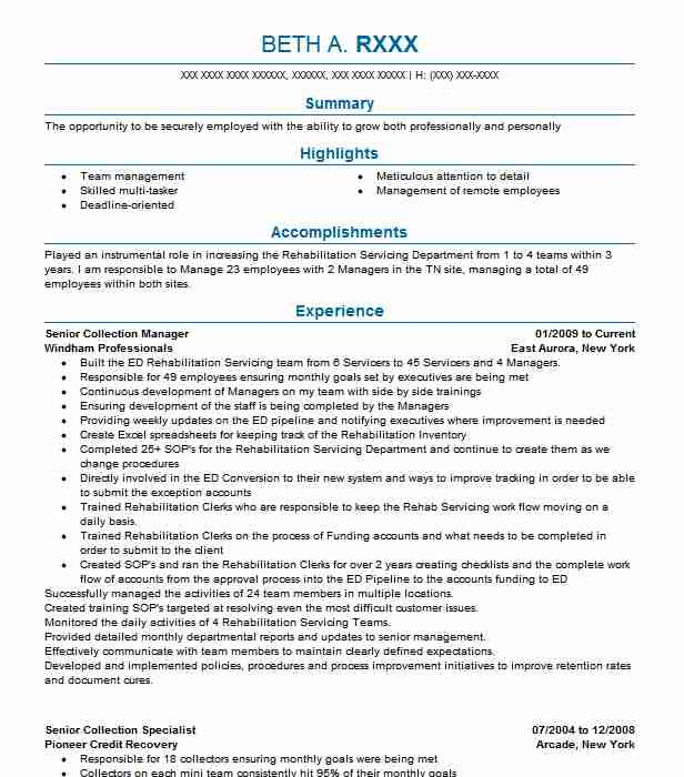senior collection manager resume example windham professionals