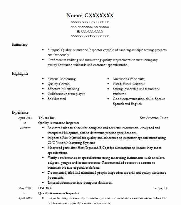 Quality Assurance Inspector Resume Example Us Air Force Jber Alaska
