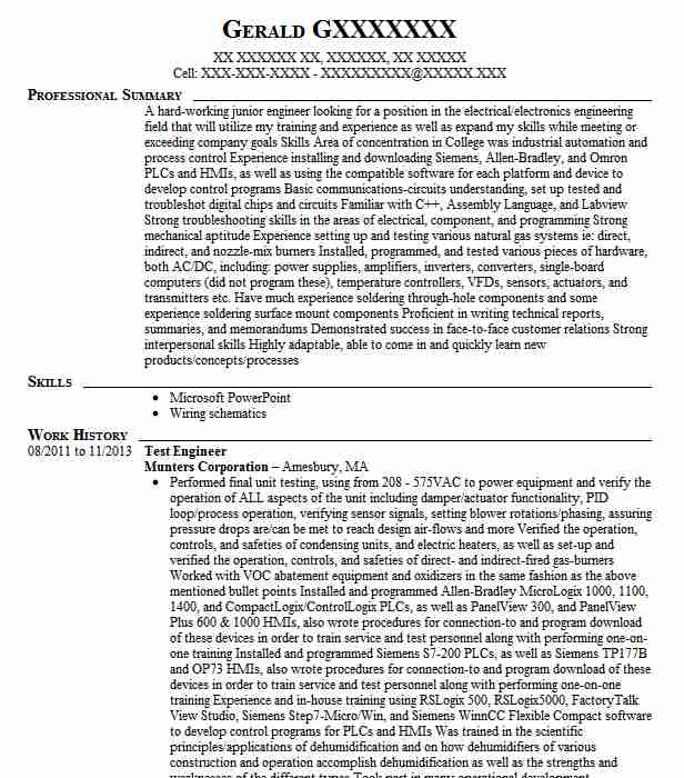 Test Engineer Resume Sample Engineering Resumes LiveCareer