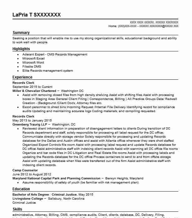 Records Clerk Resume Sample | Clerk Resumes | LiveCareer