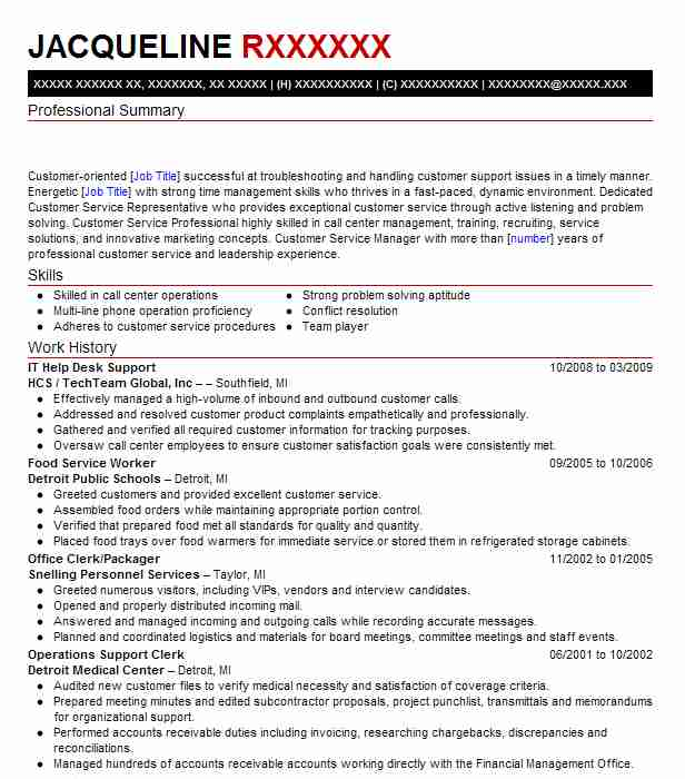 It Help Desk Support Resume Example Support Resumes Livecareer