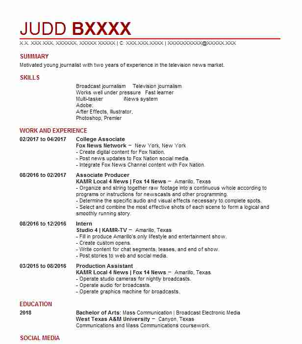 College Associate  Video Producer Resume