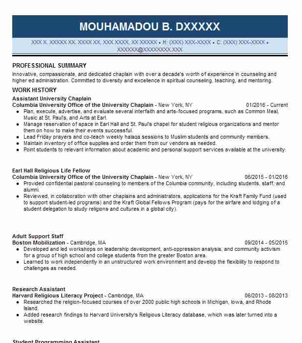 chaplain's assistant resume example united states army