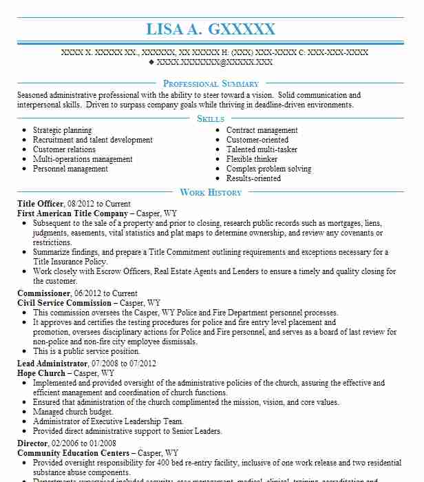 title officer resume example first american title
