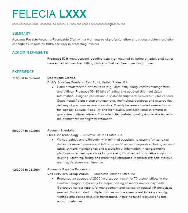 Operations Clerical  Account Receivable Resume