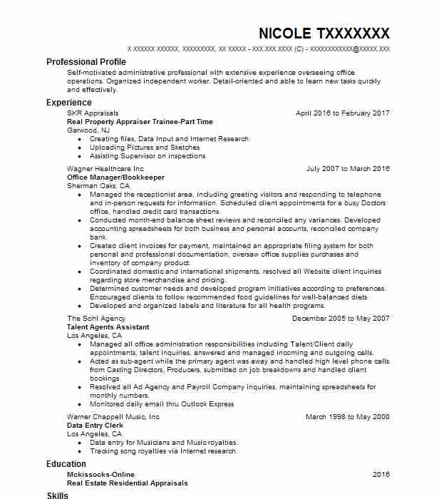 Appraiser Resume Samples. Real Property Appraiser Trainee Part Time