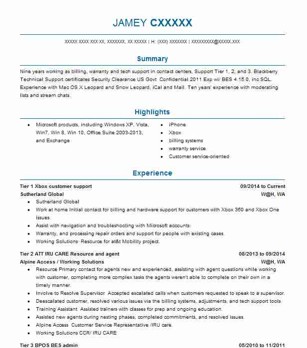 Tier 1 Xbox Customer Support  Game Designer Resume