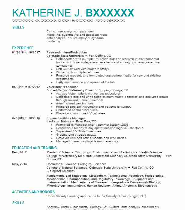 Research Intern/Technician  Clinical Laboratory Scientist Resume