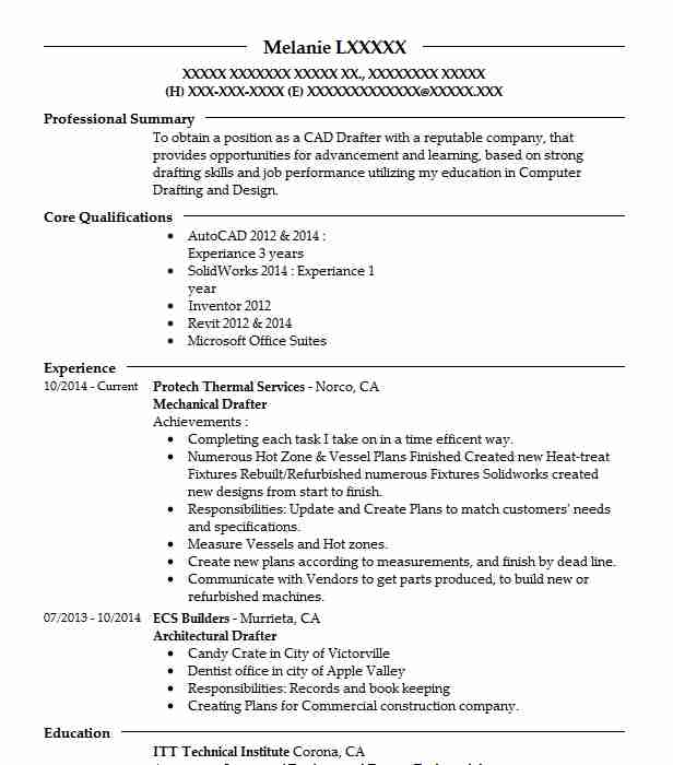 Mechanical Drafter Resume Sample | Drafter Resumes | LiveCareer