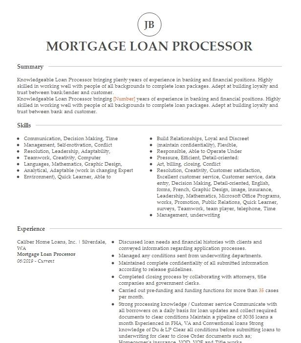 mortgage loan processor resume example  resumes misc
