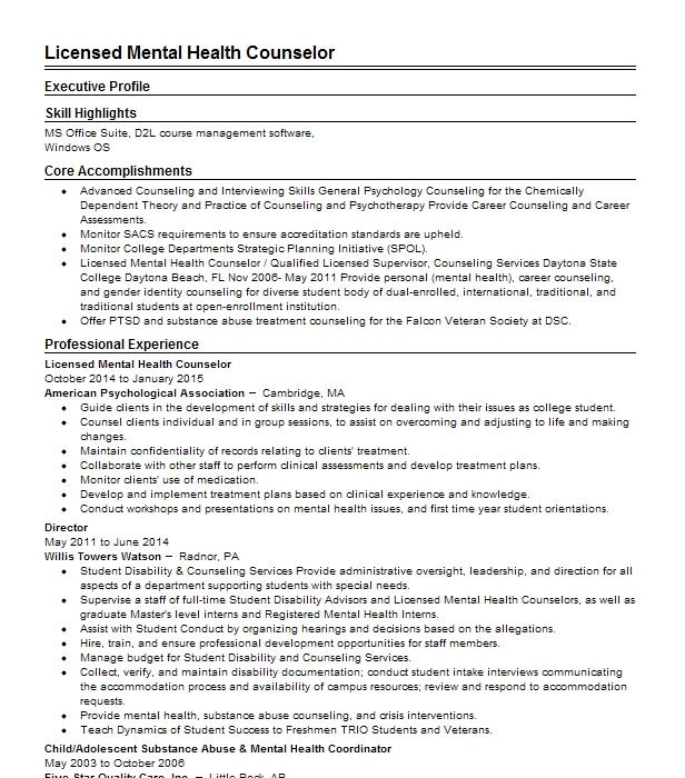 Licensed Mental Health Counselor Resume Example Kathryn ...