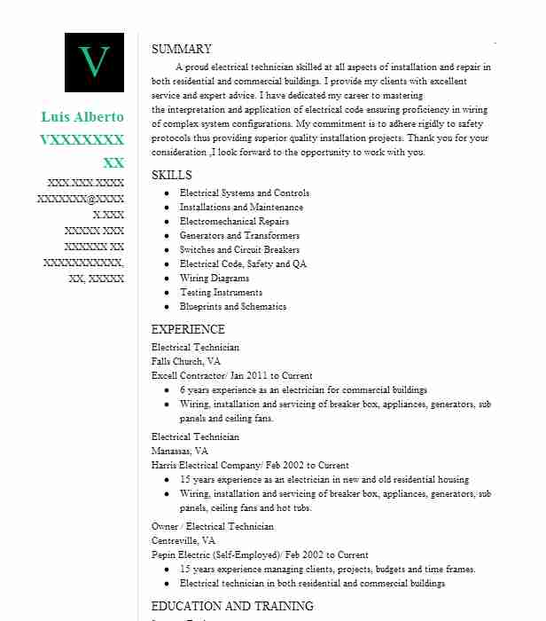 545 electrical and electronics installation and maintenance resume