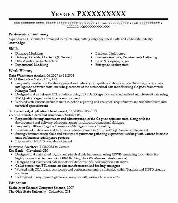 Data Warehouse Analyst Resume Sample Analyst Resumes