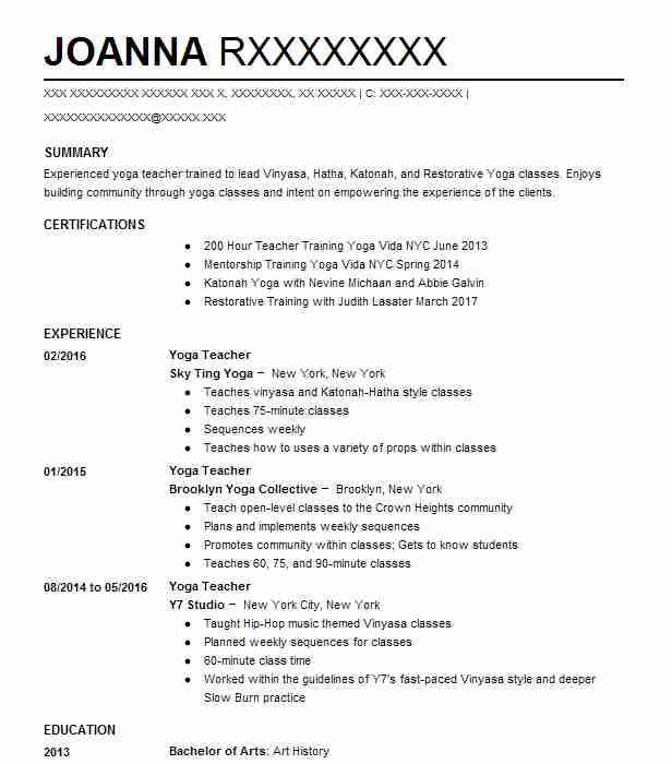 Pilates Instructor Resume Example Evolution Pilates - Wantagh, New York