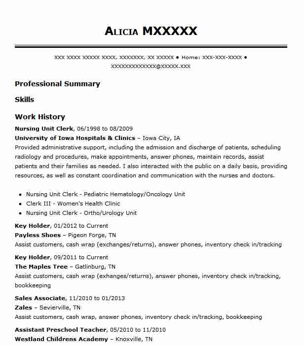 Nursing Unit Clerk Resume Sample