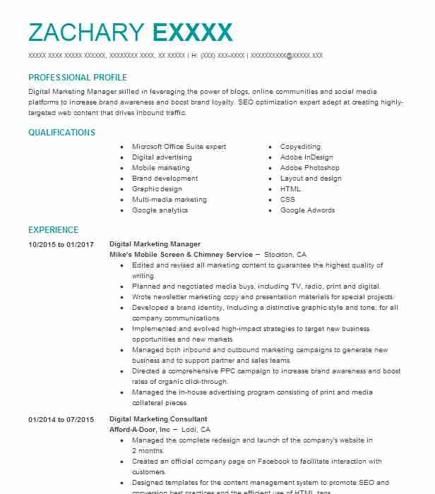 Digital Marketing Manager Resume Example Mikes Mobile Screen Chimney Service