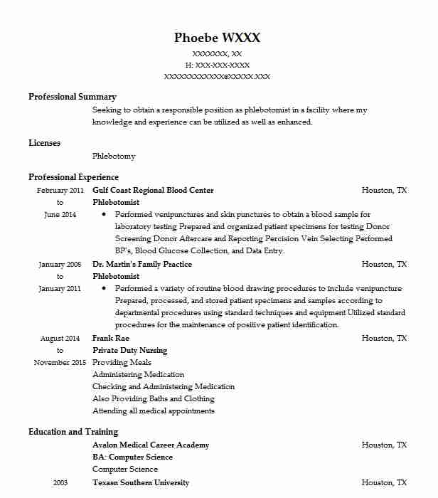Phlebotomist resume sample nursing resumes livecareer create my resume altavistaventures Choice Image