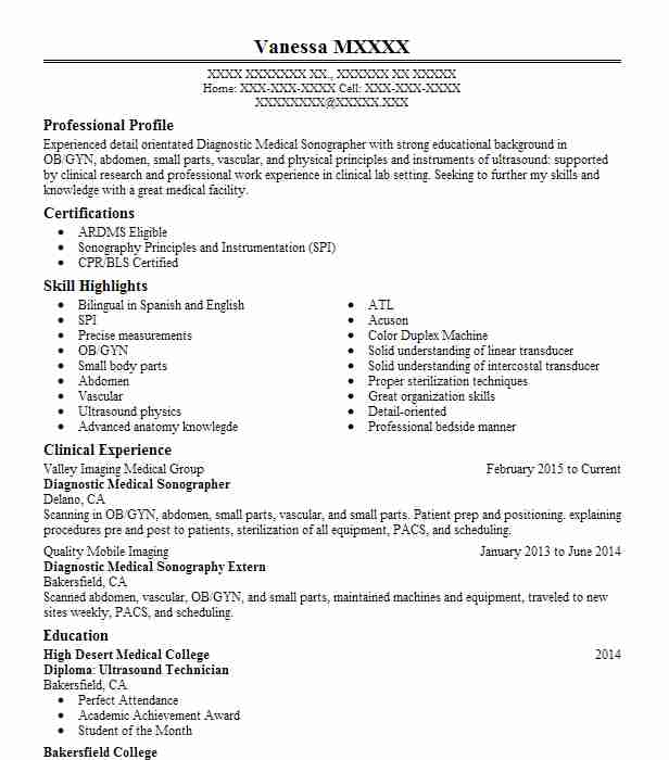 Diagnostic Medical Sonographer Student Resume Example Yale