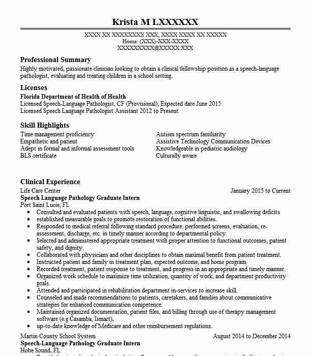speech language pathology assistant resume example excel home health