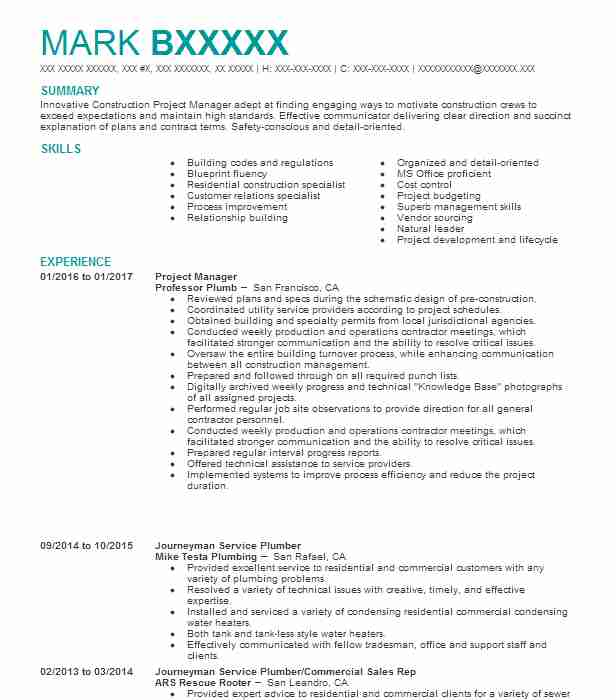 Create My Resume  Plumbing Resume