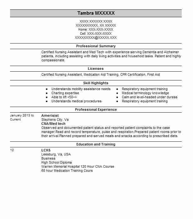 Cnamed Tech Resume Example Amerisist Middletown Virginia