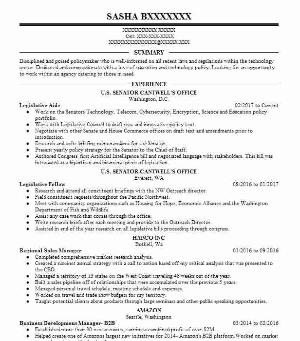 Legislative Aide Resume Sample | Resumes Misc | LiveCareer