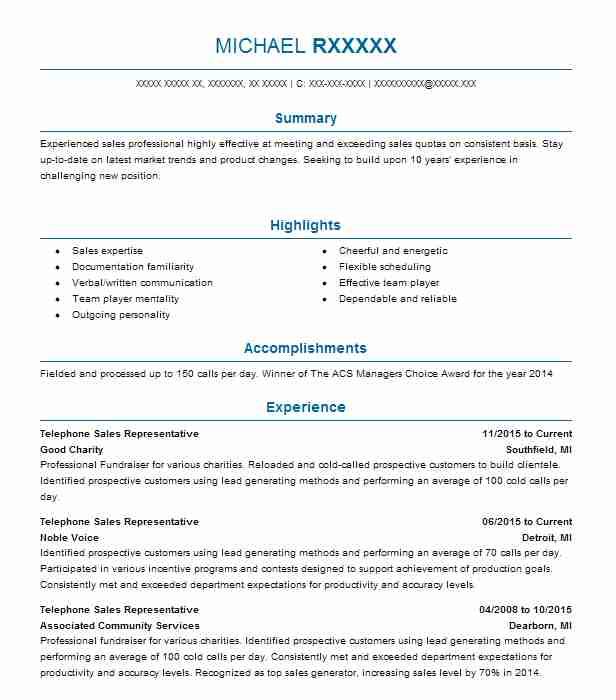 Telephone Sales Representative Resume Sample Livecareer