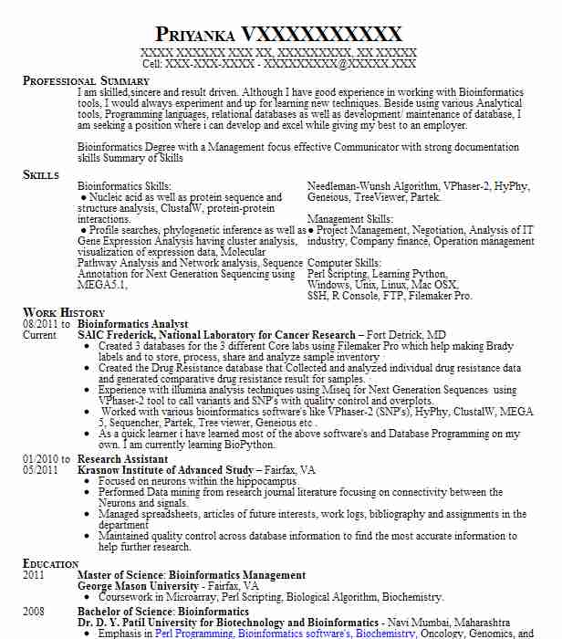 bioinformatics analyst resume sample