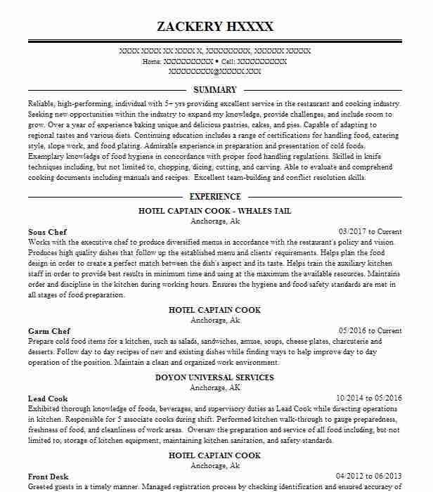 Sous Chef Resume Sample Chef Resumes Livecareer