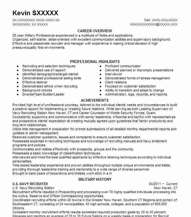 U S Navy Resume Example Completed 20 Years And Retired