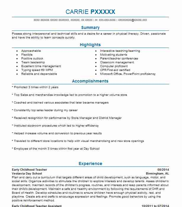 Early Childhood Teacher Resume Sample
