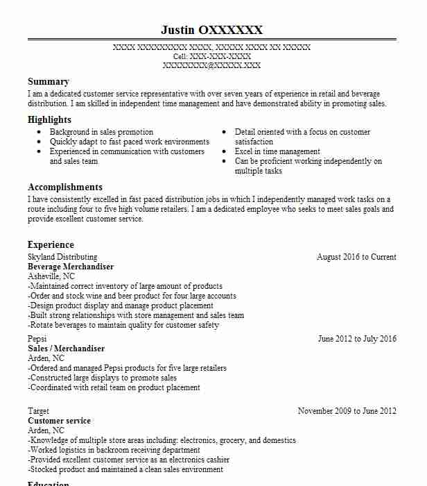 Beverage Merchandiser Resume Sample Livecareer