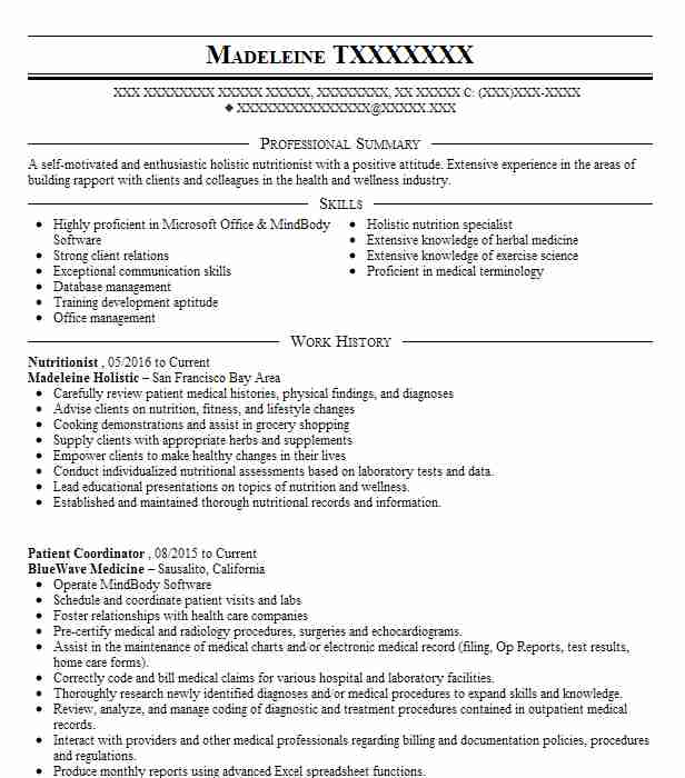 nutritionist resume objectives resume sample
