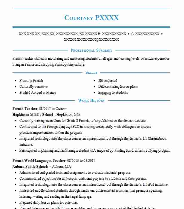 French Teacher Resume Sample Resumes Misc LiveCareer