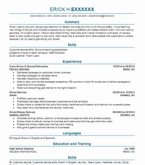 find resume examples in reno  nv